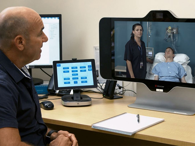 Telehealth consultation with doctor, nurse and patient